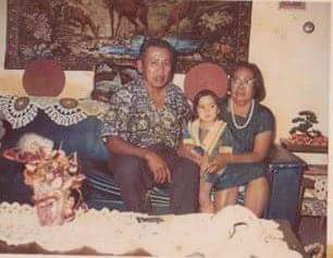 My Grandfather, my little sister and my Grandmother Ignancia.