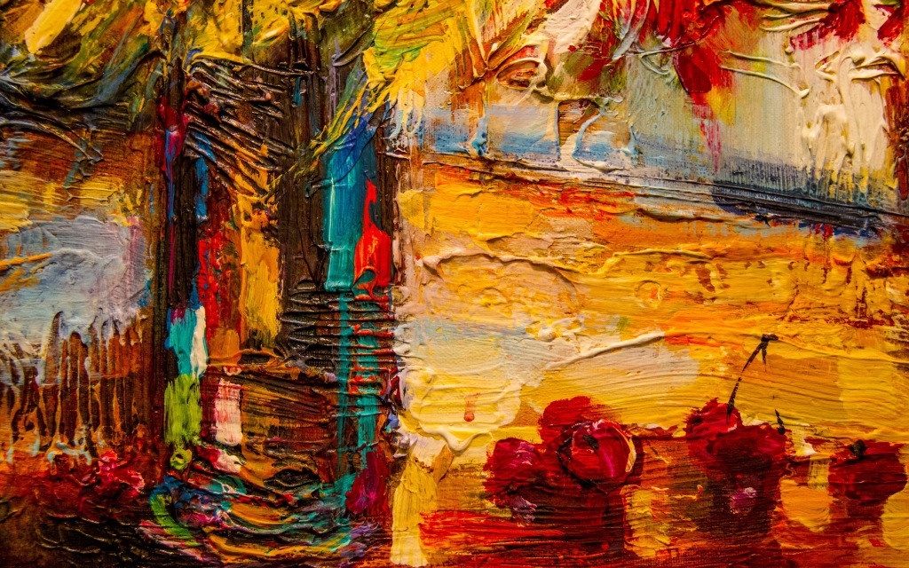 art-cherries-colorful-painting